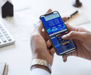 financial data on a phone screen